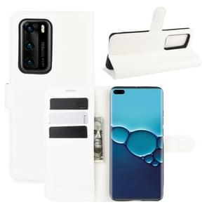 Voor Huawei P40 Litchi Texture Horizontal Flip Protective Case met Holder & Card Slots & Wallet(White)