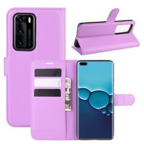 Voor Huawei P40 Litchi Texture Horizontal Flip Protective Case met Holder & Card Slots & Wallet(Purple)