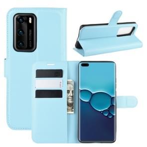 Voor Huawei P40 Litchi Texture Horizontal Flip Protective Case met Holder & Card Slots & Wallet(Blue)
