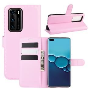 Voor Huawei P40 Litchi Texture Horizontal Flip Protective Case met Holder & Card Slots & Wallet(Pink)
