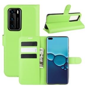 Voor Huawei P40 Litchi Texture Horizontal Flip Protective Case met Holder & Card Slots & Wallet(Green)