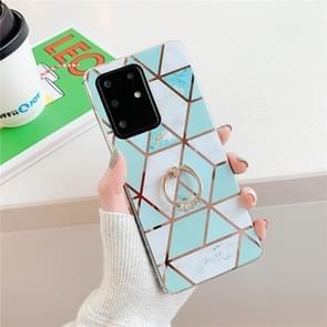 Voor Huawei P40 Plating Kleurrijke geometrische Patroon Mozaïek Marmer TPU Mobiele Telefoon Case Strassje Ring (Groene PR2)