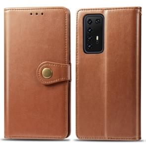 Voor Huawei P40 Pro Retro Solid Color Leather Buckle Phone Case met Lanyard & Photo Frame & Card Slot & Wallet & Stand Function(Brown)