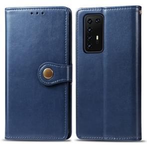 Voor Huawei P40 Pro Retro Solid Color Lederen Buckle Phone Case met Lanyard & Photo Frame & Card Slot & Wallet & Stand Function(Blauw)