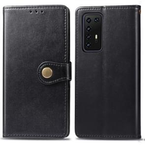 Voor Huawei P40 Pro Retro Solid Color Leather Buckle Phone Case met Lanyard & Photo Frame & Card Slot & Wallet & Stand Function(Zwart)