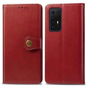 Voor Huawei P40 Pro Retro Solid Color Leather Buckle Phone Case met Lanyard & Photo Frame & Card Slot & Wallet & Stand Function(Red)