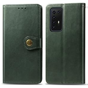 Voor Huawei P40 Pro Retro Solid Color Leather Buckle Phone Case met Lanyard & Photo Frame & Card Slot & Wallet & Stand Functie(Groen)