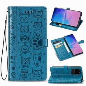 Voor Galaxy S20 Ultra Cute Kat en Hond Reliëf horizontale Flip PU lederen zaak met houder / kaartsleuf / portemonnee / Lanyard (Blauw)