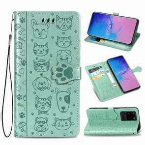 Voor Galaxy S20 Ultra Cute Kat en Hond Reliëf horizontale Flip PU lederen zaak met houder / kaartsleuf / portemonnee / Lanyard (Groen)