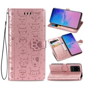 Voor Galaxy S20 Ultra Cute Kat en Hond Reliëf Horizontale Flip PU lederen zaak met houder / kaartsleuf / portemonnee / Lanyard (Rose Gold)