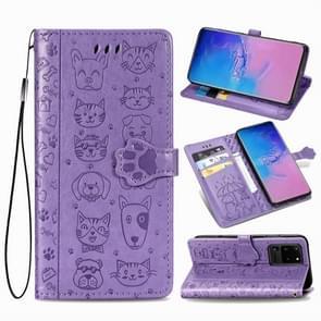Voor Galaxy S20 Ultra Cute Kat en Hond Reliëf horizontale Flip PU lederen zaak met houder / kaartsleuf / portemonnee / Lanyard (Paars)