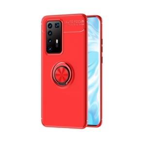 Voor Huawei P40 Pro Metalen ringhouder 360 graden roterende TPU-behuizing (rood+rood)