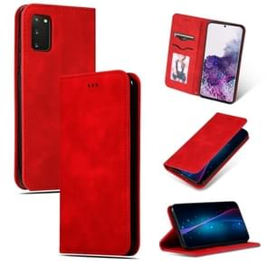 Voor Galaxy S20 retro skin feel business magnetic horizontal flip leather case(rood)