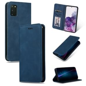 Voor Galaxy S20 Retro Skin feel Business Magnetic Horizontal Flip Leather Case (Navy Blue)