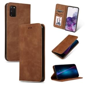 Voor Galaxy S20 retro skin feel business magnetic horizontal flip leather case(Brown)