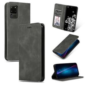 Voor Galaxy S20 Ultra Retro Skin feel Business Magnetic Horizontal Flip Leather Case (donkergrijs)