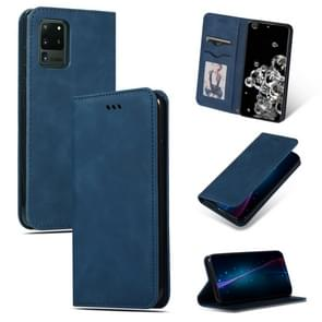 Voor Galaxy S20 Ultra Retro Skin feel Business Magnetic Horizontal Flip Leather Case (Navy Blue)