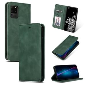 Voor Galaxy S20 Ultra Retro Skin Feel Business Magnetic Horizontal Flip Leather Case (Army Green)