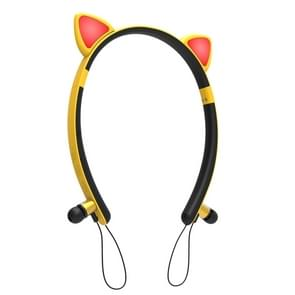 ZW29 Cat Ear Stereo Sound HIFI Fashion Outdoor Portable Sports Wireless Bluetooth Headset met Mic & LED Light Glowing(Yellow)