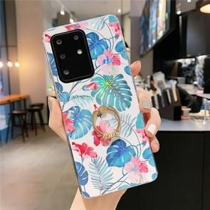 Voor Galaxy S20 Kleurrijke Laser Flower Series IMD TPU mobiele telefoon geval met Ring Steentjes Houder (Monstera KC3)