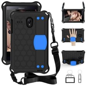 Voor Galaxy Tab A 8.0(2018) T387 Honeycomb Design EVA + PC Four Corner Anti Falling Flat Protective Shell With Straps (Black+Blue)