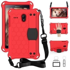 Voor Galaxy Tab A 8.0(2018) T387 Honeycomb Design EVA + PC Four Corner Anti Falling Flat Protective Shell Met riemen (Rose Red+Blue)