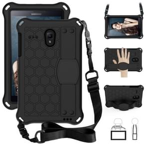 Voor GalaxyTab A 8.0 (2017)T380 Honeycomb Design EVA + PC Four Corner Anti Falling Flat Protective Shell With Straps (Black+Black)