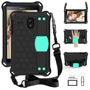 Voor GalaxyTab A 8.0 (2017)T380 Honeycomb Design EVA + PC Four Corner Anti Falling Flat Protective Shell With Straps (Black+Aqua)