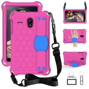 Voor GalaxyTab A 8.0 (2017)T380 Honeycomb Design EVA + PC Four Corner Anti Falling Flat Protective Shell Met riemen (Rose Red+Blue)