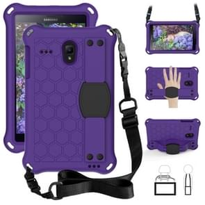 Voor GalaxyTab A 8.0 (2017)T380 Honeycomb Design EVA + PC Four Corner Anti Falling Flat Protective Shell With Straps (Purple+Black)