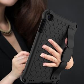Voor iPad mini 5 / 4 / 3 / 2 /1 Honeycomb Design EVA + PC Four Corner Anti Falling Flat Protective Shell With Straps (Black+Black)