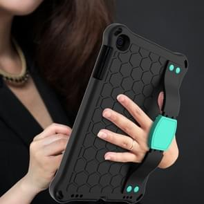 Voor iPad mini 5 / 4 / 3 / 2 /1 Honeycomb Design EVA + PC Four Corner Anti Falling Flat Protective Shell With Straps (Black+Aqua)
