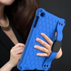 Voor iPad mini 5 / 4 / 3 / 2 /1 Honeycomb Design EVA + PC Four Corner Anti Falling Flat Protective Shell With Straps (Blauw+Zwart)