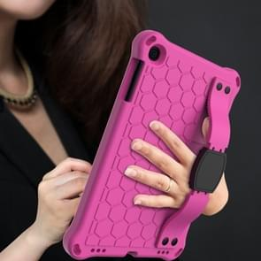 Voor iPad mini 5 / 4 / 3 / 2 /1 Honeycomb Design EVA + PC Four Corner Anti Falling Flat Protective Shell With Straps (Rose Red+Black)