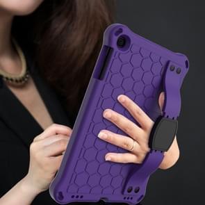 Voor iPad mini 5 / 4 / 3 / 2 /1 Honeycomb Design EVA + PC Four Corner Anti Falling Flat Protective Shell With Straps (Purple+Black)