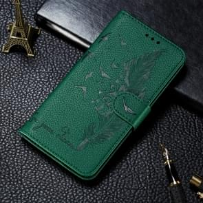 Voor Xiaomi Mi 10 & 10 Pro Litchi Texture Feather Embossing Horizontal Flip Leather Case met Holder & Card Slots & Wallet & Photo Frame & Lanyard(Green)