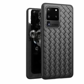 Voor Galaxy S20 Non-Slip Classic Woven Patroon Ademende TPU Case(Zwart)
