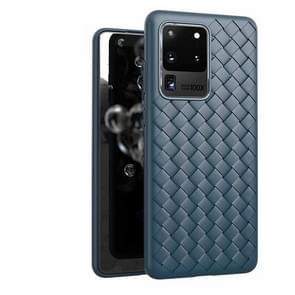 Voor Galaxy S20 Ultra Non-Slip Classic Woven Patroon Ademende TPU Case(Blauw)