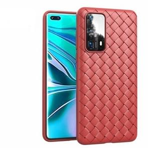 Voor Huawei P40 Non-Slip Classic Woven Pattern Breathable TPU Case(Red)