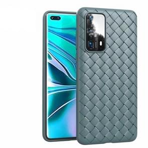 Voor Huawei P40 Non-Slip Classic Woven Pattern Breathable TPU Case (Grijs)