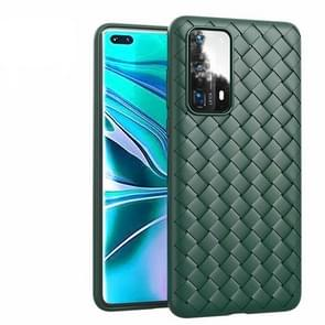 Voor Huawei P40 Non-Slip Classic Woven Pattern Breathable TPU Case(Groen)