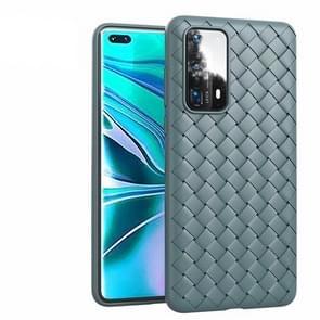 Voor Huawei P40 Pro Non-Slip Classic Woven Patroon Ademende TPU mobiele telefoon case (grijs)