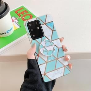 Voor Huawei P40 Plating kleurrijke geometrische patroon mozaïek marmeren TPU mobiele telefoon geval met opvouwbare beugel (Groene PS2)