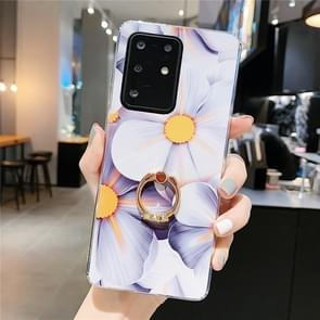 Voor Galaxy S20 Ultra Smooth Flower Series IMD TPU Case met Ring Steentjes Holder (Qiuying KR1)
