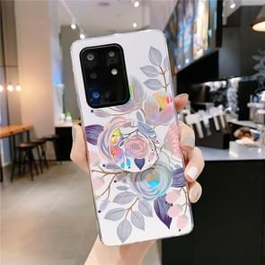 Voor Galaxy S20 Ultra Kleurrijke Laser Flower Series IMD TPU mobiele telefoon geval met opvouwbare stand (Begonia Bloemen KB2)