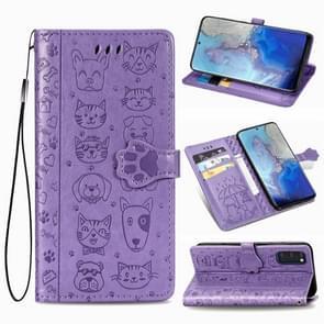 Voor Galaxy S20 Cute Kat en Hond reliëf horizontale flip lederen zaak met beugel / kaartsleuf / portemonnee / Lanyard (Paars)