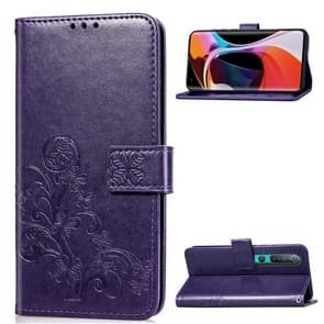 Voor Xiaomi 10 Pro Vierbladige gesp reliëf Gesp Mobiele Telefoon Bescherming Lederen Case met Lanyard & Card Slot & Wallet & Bracket Functie(Paars)