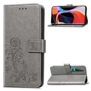 Voor Xiaomi 10 Pro Vierbladige gesp reliëf Gesp Mobiele Telefoon Bescherming Lederen Case met Lanyard & Card Slot & Wallet & Bracket Functie(Grijs)