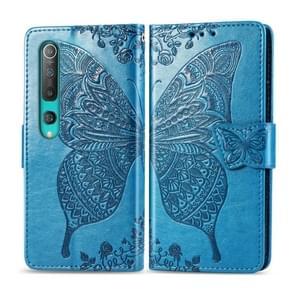 Voor Xiaomi 10 Pro Butterfly Love Flower Embossed Horizontale Flip Lederen Case met beugel / kaartslot / Portemonnee / Lanyard(Blauw)