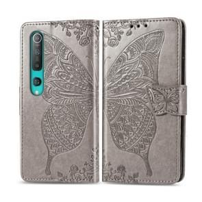Voor Xiaomi 10 Pro Butterfly Love Flower Embossed Horizontale Flip Lederen Case met bracket / card slot / Wallet / Lanyard(Grijs)